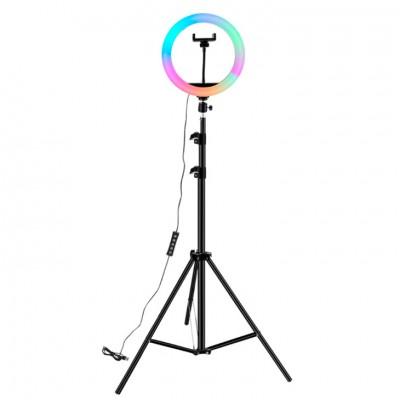 Кольцевой осветитель 26 см RGB + cтойка 2м
