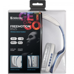 Наушники Defender FreeMotion B525 (синий/белый)
