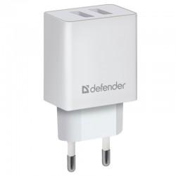 Сетевой адаптер Defender UPA-22 белый, 2xUSB, 2.1А