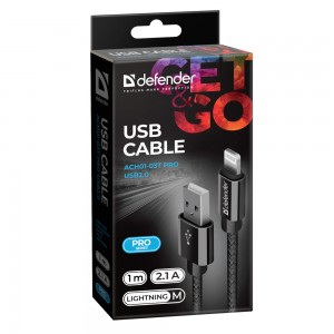 USB кабель Defender ACH01-03T PRO USB2.0 Черный, AM-LightningM, 1m,2.1A
